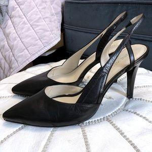 Nine West Pointed Toe Slingback Heels Black 9